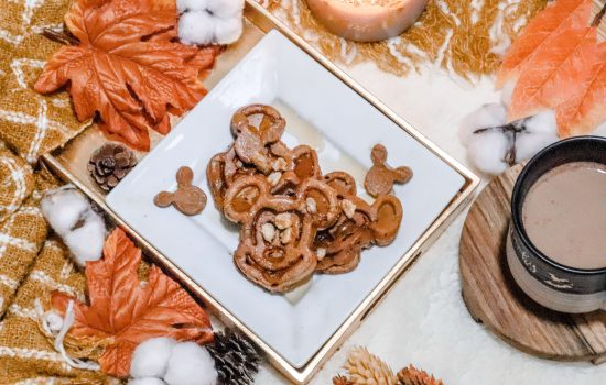 Pumpkin Spice Mickey Waffles with Maple Butter and Roasted walnuts