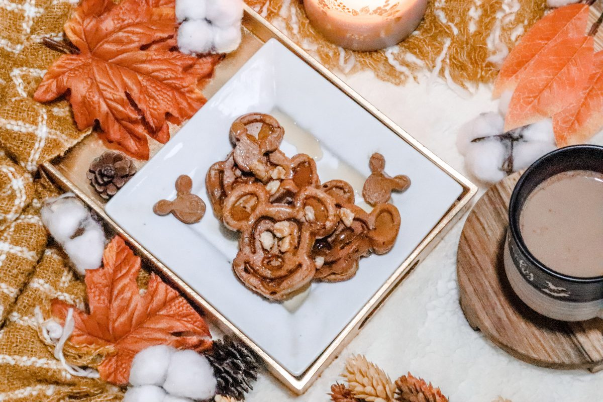 Pumpkin Spice Mickey Waffles, Mickey waffles, mickey shaped food, Disney waffles, Disney recipes, Disney copycat recipe