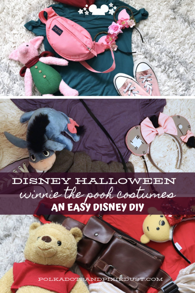 Disney Halloween Costumes that are Quick and Easy. This Winnie the Pooh Costume is a just a few cute dresses, bags, and anything else you can find to match your favorite character! #polkadotpixies #disneycostumes #disneyvacation #poohcostume