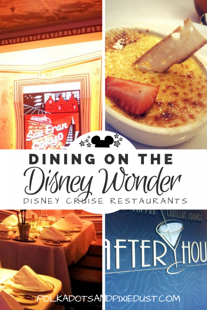 Dining on the Disney Wonder . Everything you need to know about the Disney Cruise Restaurants on the Wonder and how the restaurant rotation works! #disneycruise #disneywonder #disneytips #polkadotpixies