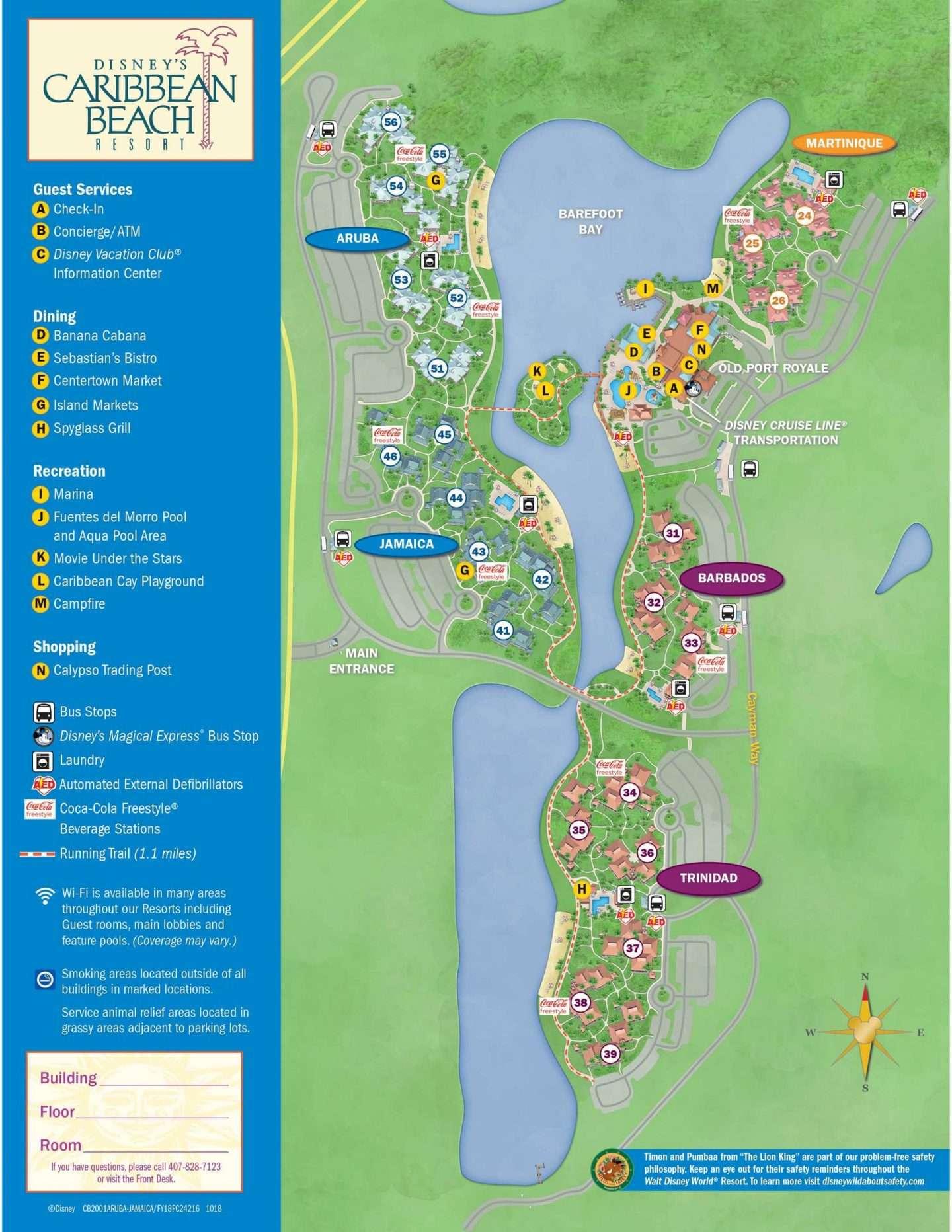 UPDATED Disney Caribbean Beach Resort Map
