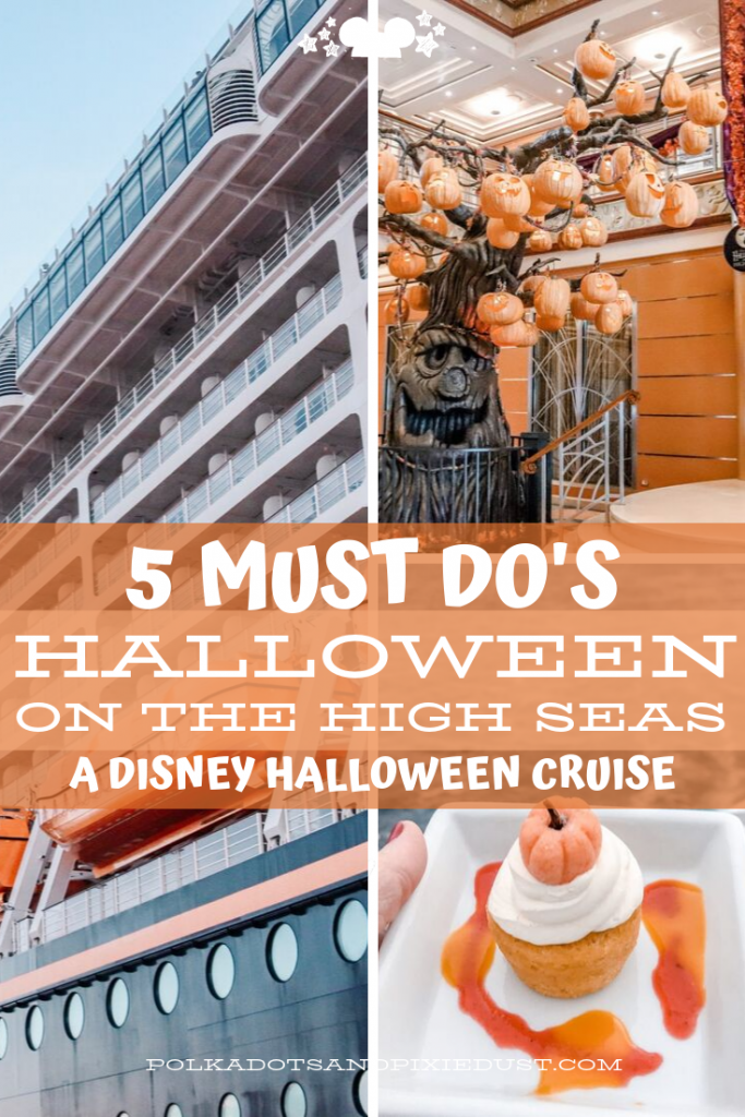 A Disney Halloween Cruise is the perfect way to start the spooky season! Here's our 5 Must Do's for Halloween on the High Seas with Disney Cruise Line! A pumpkin Tree Lighting, Spooky Snacks, and more! #disneyhalloween #disneycruise #halloweencruise #polkadotpixies
