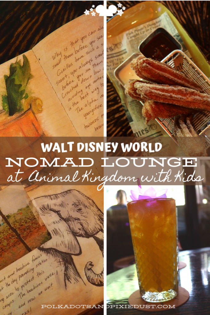 Nomad Lounge in Animal Kingdom with Kids offers Kid Friendly Non-Alcoholic drinks at Walt Disney World to beat the heat, small plates and treats! Here's everything to know if you're heading to Animal Kingdom's Nomad Lounge. #nomadlounge #animalkingdom #polkadotpixies
