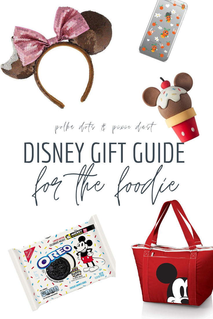 Disney Gifts for the Foodie! If Disney Snacks sums up your gifting wish list, grab these Disney Foodie Gifts just in time for the holidays. A Mickey Cooler, Disney Treats, Mickey Oreos and more! #disneysnacks #disneygiftguide #disneyfoodie #foodiegifts #polkadotpixies