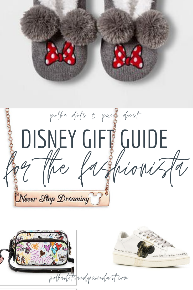 Disney gifts for the Fashionista. Disney Style at it's best, these gifts can add a little extra magic to your wardrobe! Mickey slippers, Disney Dooney and Bourke and the best Disney jewelry. #disneystyle #disneyfashion #disneygifts #polkadotpixies