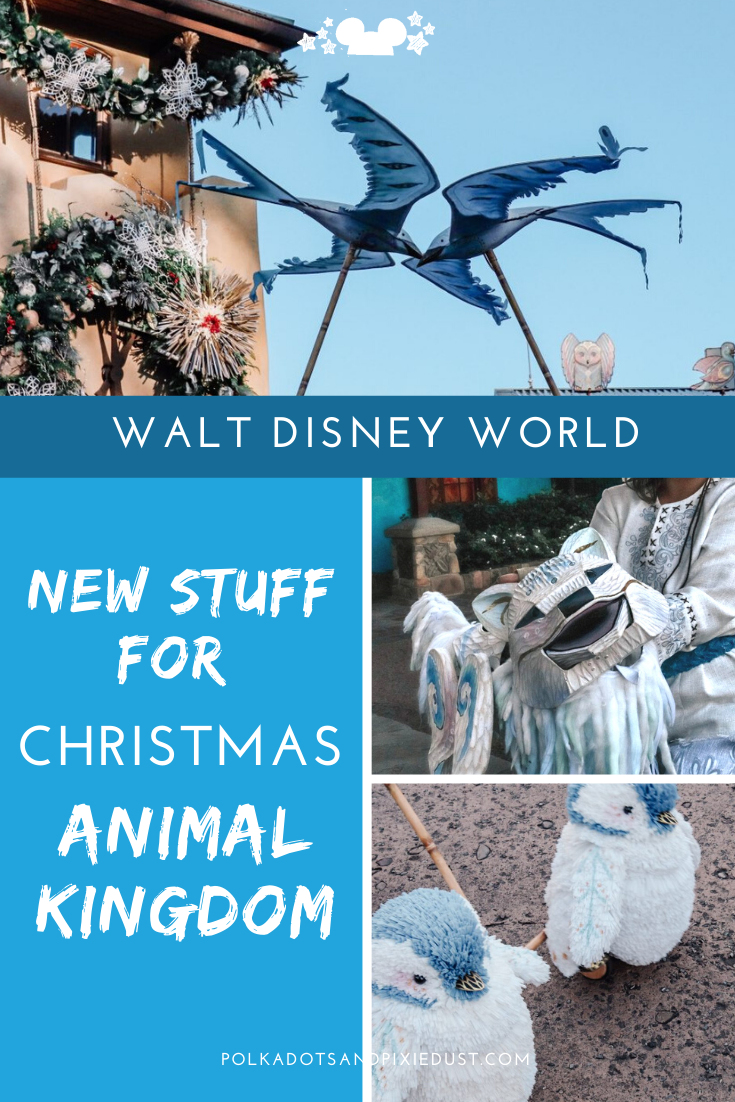 Animal Kingdom at Chrsitmas just got a whole lot better! Walt Disney World has introduced gorgeous puppets, decorations, and a whole new approach to the holiday offerings. Check out everything to look out for at Animal Kingdom this Christmas. #disneychristmas #animalkingdom #disneydecorations #disneyvacation #polkadotpixies