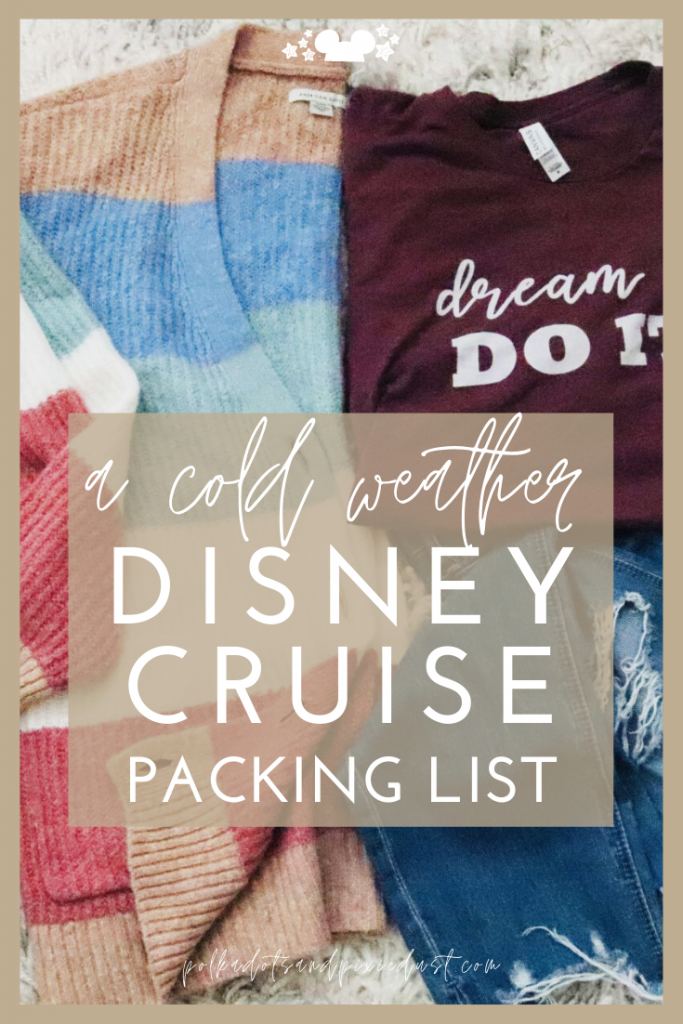 A Cold Weather Packing List for your Next Disney Cruise! Whether you're off to New England or Alaska or somewhere even colder, here are all our favorite Packing tips for Disney Cruises in cold Weather Port Destinations. #disneycruise #disneypackinglist #polkadotpixies #coldweathercruise #wintervacation