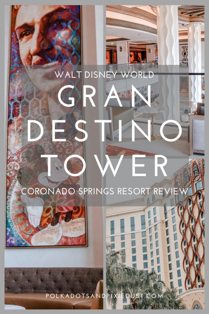 Gran Destino Tower at Coronado Springs Walt Disney World combines old spanish american charm and a little bit of disney. Is it good for the kids, grown-ups? Is it disney enough? From restaurants to rooms, we cover it all here! Read the post for our take. #grandestinotower #coronadosprings #waldisneyworld #disneyvacation #polkadotpixies