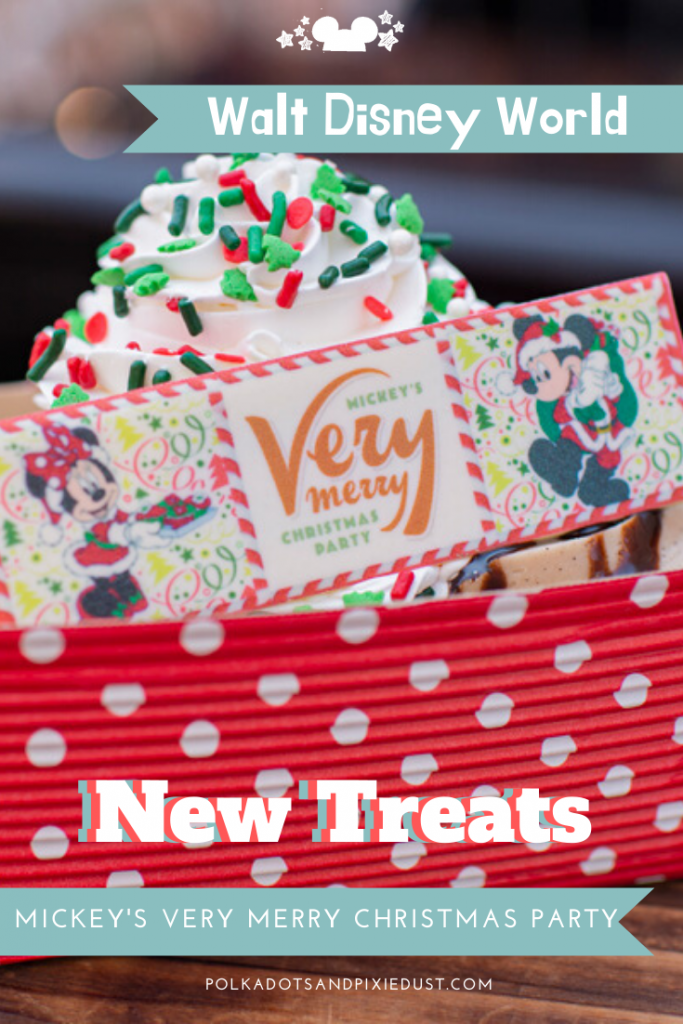 All New Treats at Mickey's Very Merry Christmas Party. New Holiday snacks and Treats plus all the holiday snacks at Magic Kingdom! #disneysnacks #disneychristmas #disneyholidays #polkadotpixies