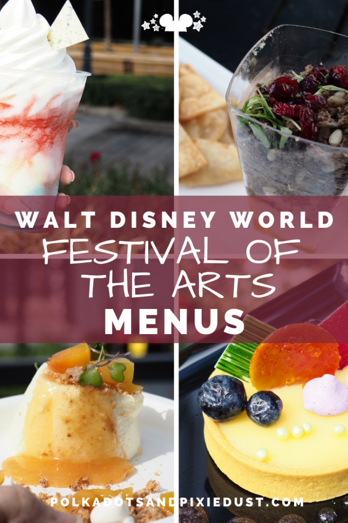 Festival of the Arts Menus for 2020 have ARRIVED!!! Check out the 12 kitchens and the new wonderful Walk of Colorful Cuisine. #artfulepcot #epcot2020 #waltdisneyworld #polkadotpixies #festivalofthearts