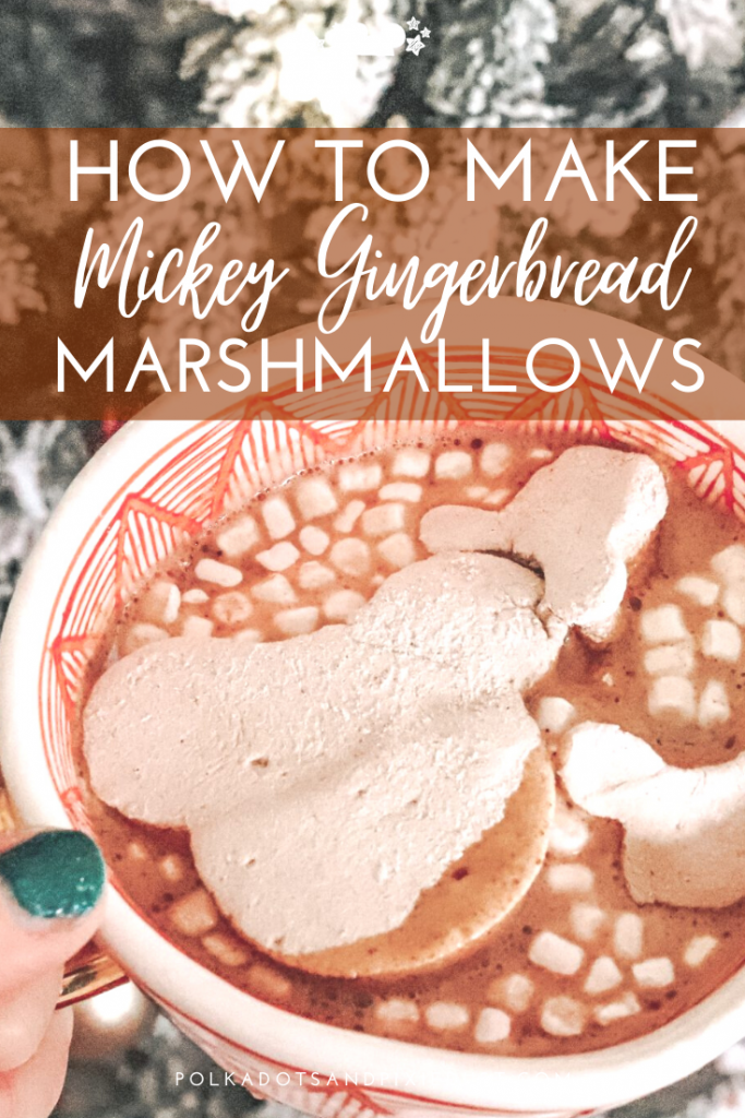 How to Make Mickey Shaped Gingerbread Marshmallows, perfect for your hot cocoa or even coffee! We love these Mickey marshmallows as a snack to cheer up any Christmas Cookie Board! #disneyrecipes #polkadotpixies #mickeysnacks #marshmallows