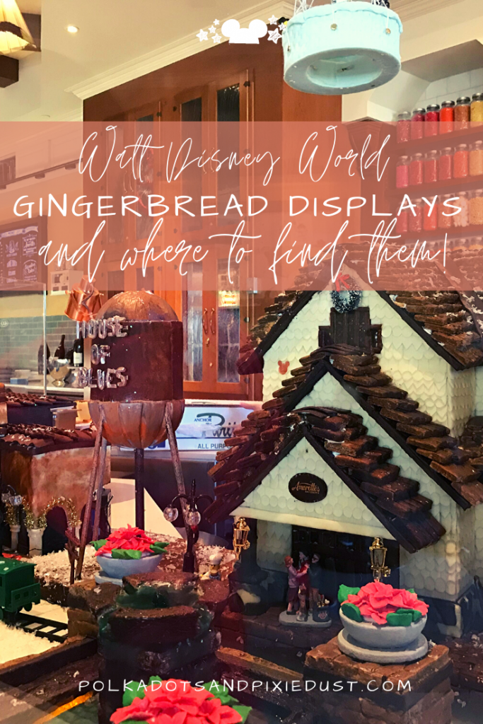 Gingerbread Displays are found all over Walt Disney World each holiday season. Check out the Gingerbread House at Grand Floridian, the new Gingerbread Cabin at Wilderness Lodge and more gingerbread to hunt down at 6 more Disney Resorts! #disneygingerbread #waltdisneyworld #disneychristmas
