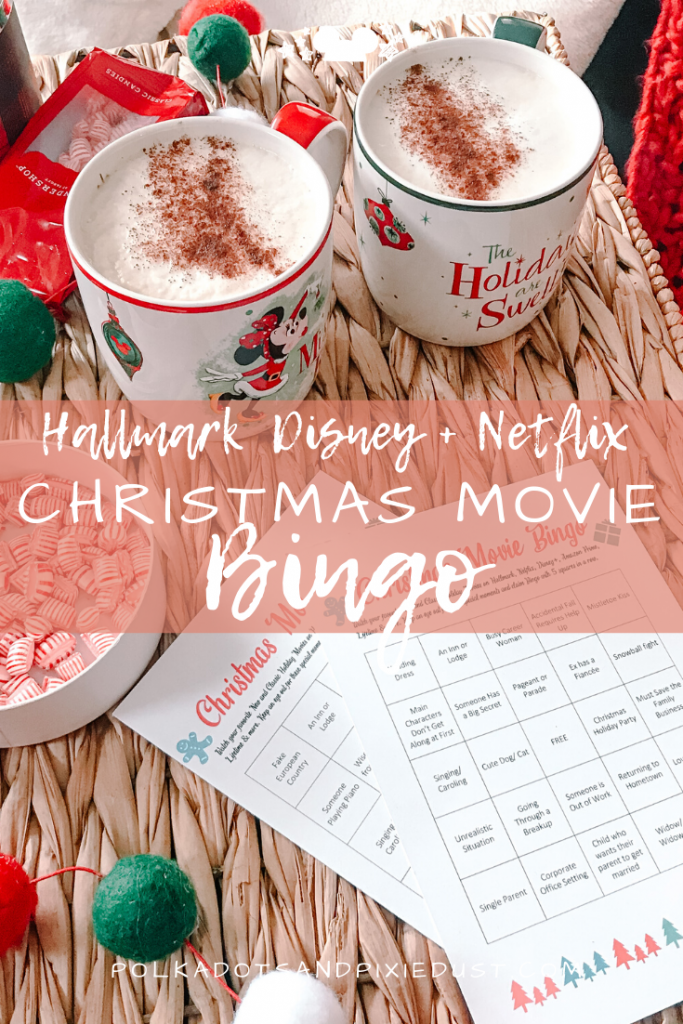 Hallmark Christmas Movie Bingo now includes all your Holiday Favorites on Disney+, Amazon Prime and Netflix too. Check out this set of 8 Christmas Movie Bingo Cards and all our favorites on Amazon Prime, Netflix, and Disney+ #polkadotpixies #disney+christmasmovies #hallmarkchristmas