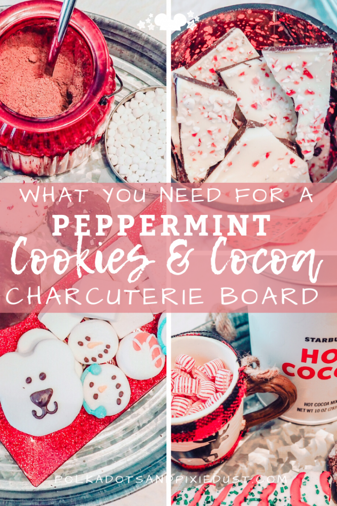 Christmas Peppermint Cookies and Cocoa Charcuterie Board just in time for a last minute holiday treat! #peppermintmocha #christmascookies #peppermintcocoa