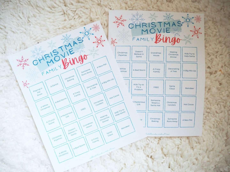 Christmas Bingo Cards for Christmas Movies