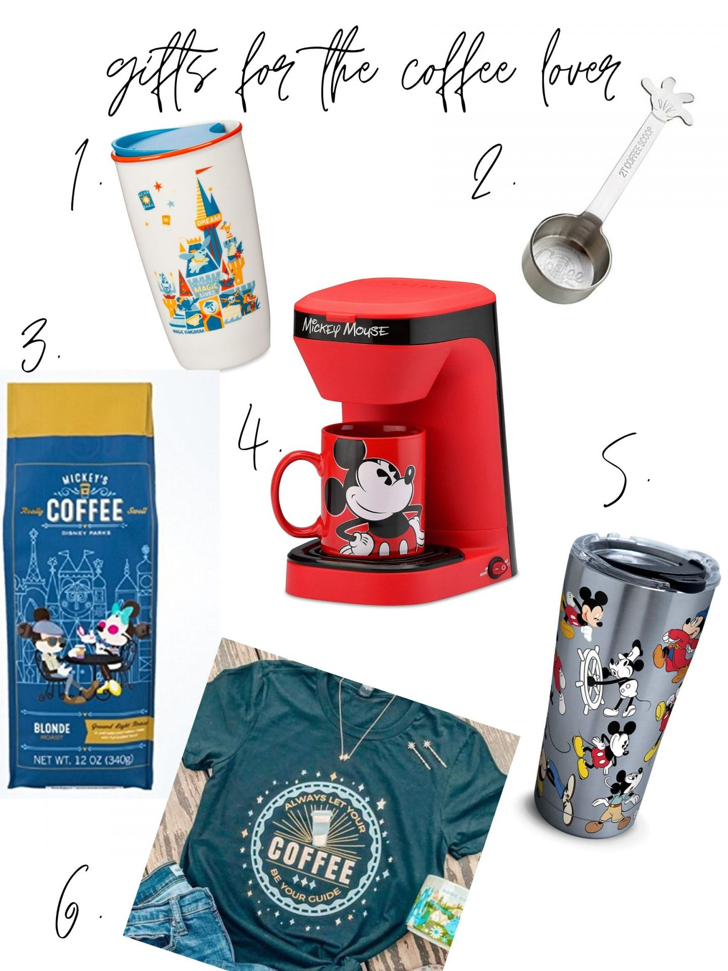 Disney Gifts for Coffee Lovers. Our favorite Disney Coffee, Disney Mugs, Coffee Makers, Coffee Shirts and more! Everything you need to put together a cute gift for coffee people. #disneycoffee #disneygifts #coffeegiftideas #coffeelover #polkadotpixies