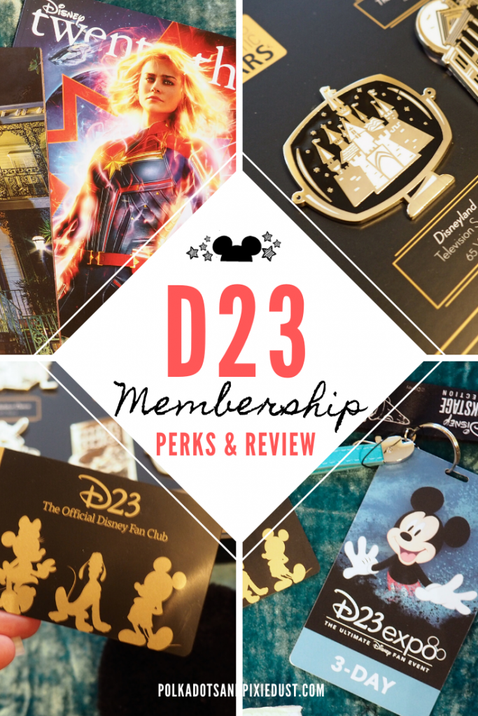 D23 Membership Perks and Review. Thinking of a FREE D23 Membership or springing for the paid gold membership? Here's what you get at each level, all the discounts, gifts and Expo perks. #d23 #d23membership #d23gift #disneyfanclub #polkadotpixies