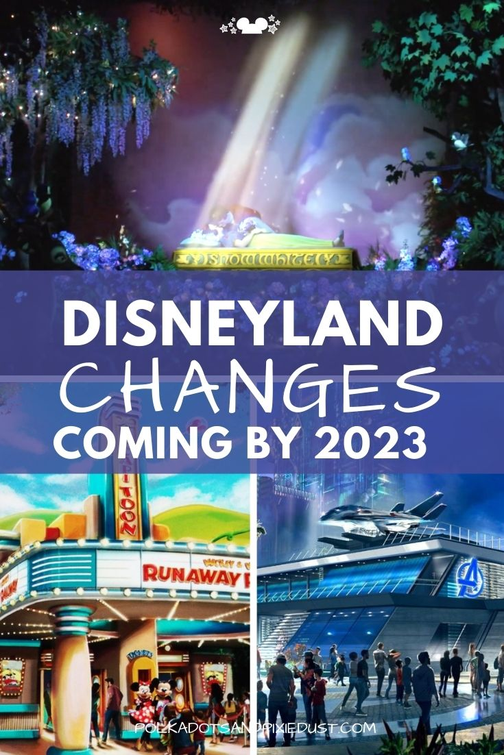 Disneyland Changes coming in the next few years. Snow White's Enchanted Wish, Avengers Campus, and Mickey and Minnie's Runaway Railway #disneyland #disneyvacation #polkadotpixies