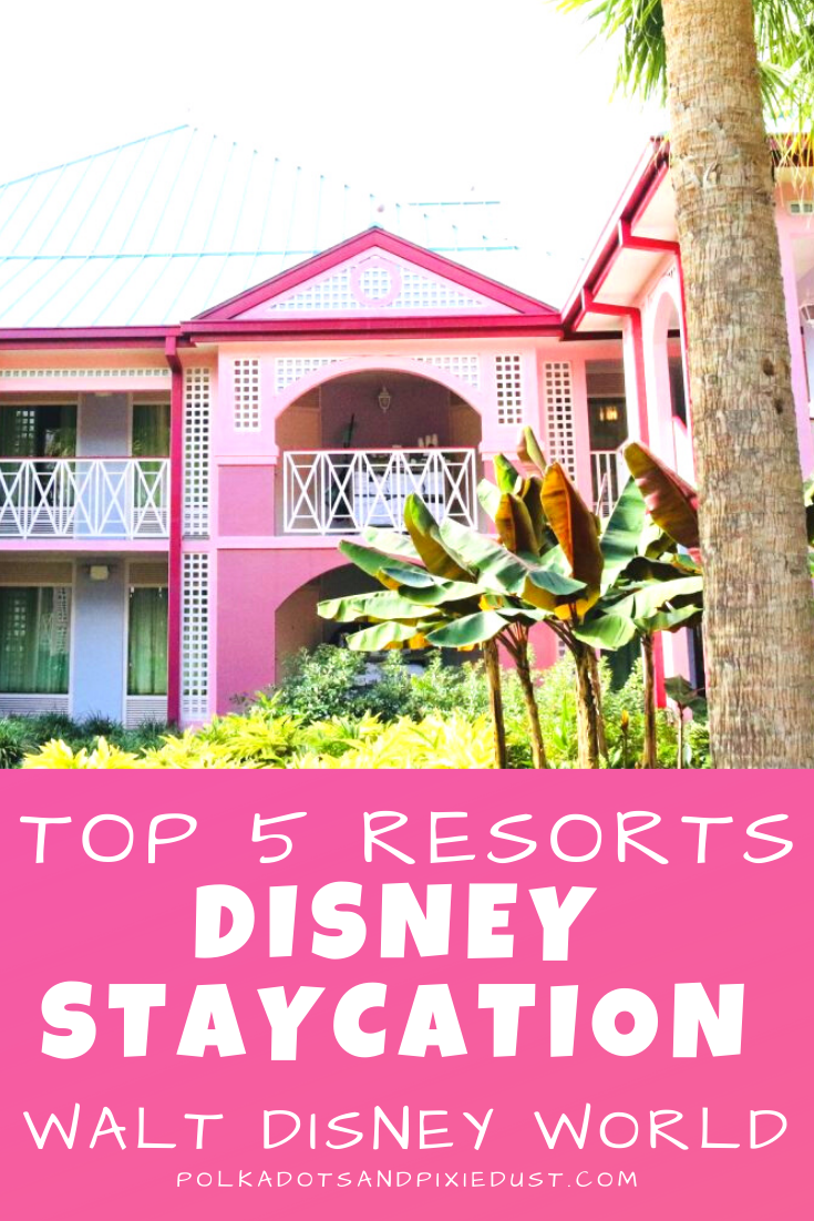 Everyone needs a Disney Resort Staycation. You know. With no intention of parks visits you can just take advantage of amazing Disney Resort services, amenities, programs, resorts, walking paths, bike rental, the pool and more! Check out our TOP 5 STAYCATION Resorts for staying in at Walt Disney World. #disneyresorts #disneyvacation #staycation #waltdisneyworld #polkadotpixies