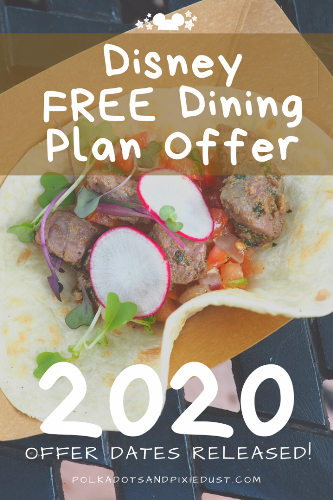 Disney FREE DINING PLAN Offer has arrived for 2020! Select Resorts, Dates and Limited Availability. See Whats Included! #disneyfreedining #disneydeals #disneyfood #disneydiningplan