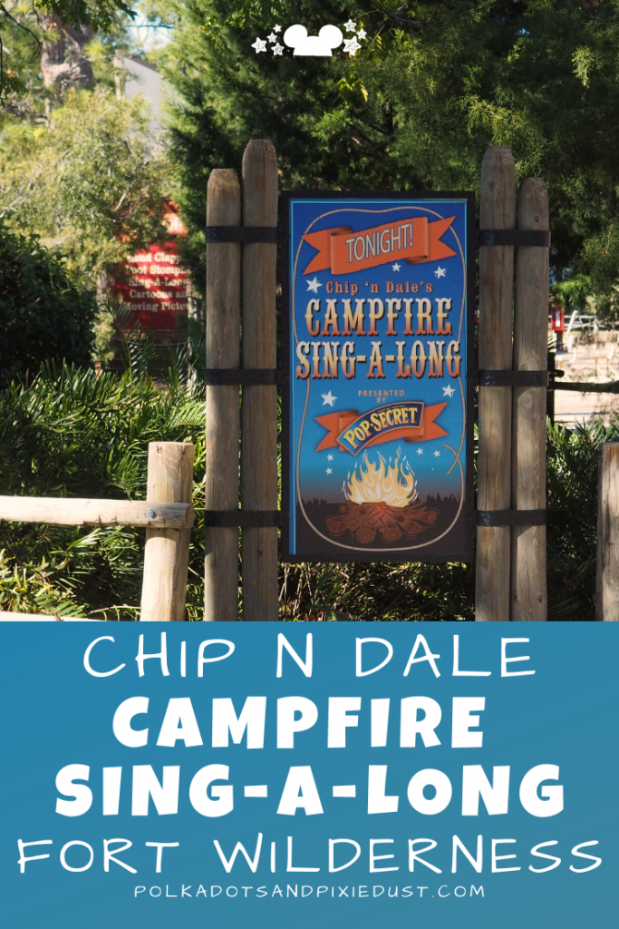 The Chip N Dale Campfire at Fort wilderness resort and campgrounds is a MUST-DO! Even if your'e not staying there! We were so surprised by this low key, s'more filled evening event! Perfect for families. #disneyvacation #disneyfortwilderness #fortwilderness #campfiresingalong #polkadotpixies