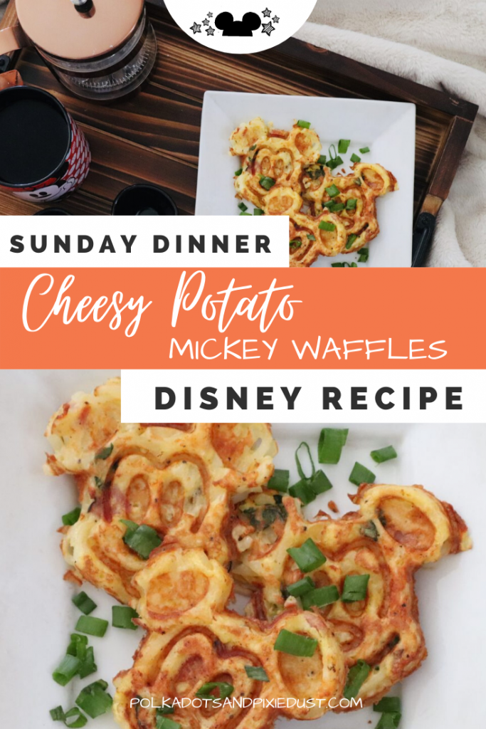 Need Disney Recipes for your next Sunday Dinner? Whip up a batch of these Cheesy Potato Mickey Waffles! Thsi savory dish can be paired with chicken and chives and extra sour cream! Check out the recipe! #disneydinner #disneyrecipes #dinnerideas #polkadotpixies