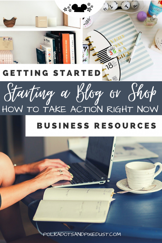 Start an Online Business RIGHT NOW! What are some actionable steps you take in this moment to get yourself up and running? Check out the post for our best tips to get your blog or shop set up. #onlinebusiness #bloggers #shopowner #etsyshop #businesstips #polkadotpixies