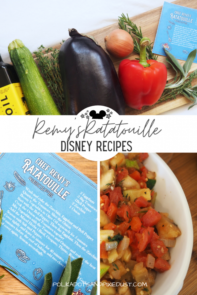 Disney's Remy's Ratatouille Recipe from this years Flower and Garden Festival. Complete with fresh veggies, this French Regional dish combines nutrient rich foods in a plant-based lunch. Easy to make in about 20 minutes. #disneyrecipes #disneylunch #remysratatouille #ratatouillerecipe #polkadotpixies #disneyathome