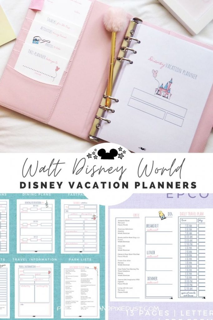 Disney Planners for your Next Disney Vacation. Start getting ready for vacation with these printable disney planners. Planning your fastpass choices, resort comparisons, packing lists, epcot festivals and Magic Kingdom Parties! Check out our best tips and planners for everything you need in a Disney Vacation. #disneyvacation #disneyplanners #disneyvcationplanners #disneyfamily #polkadotpixies