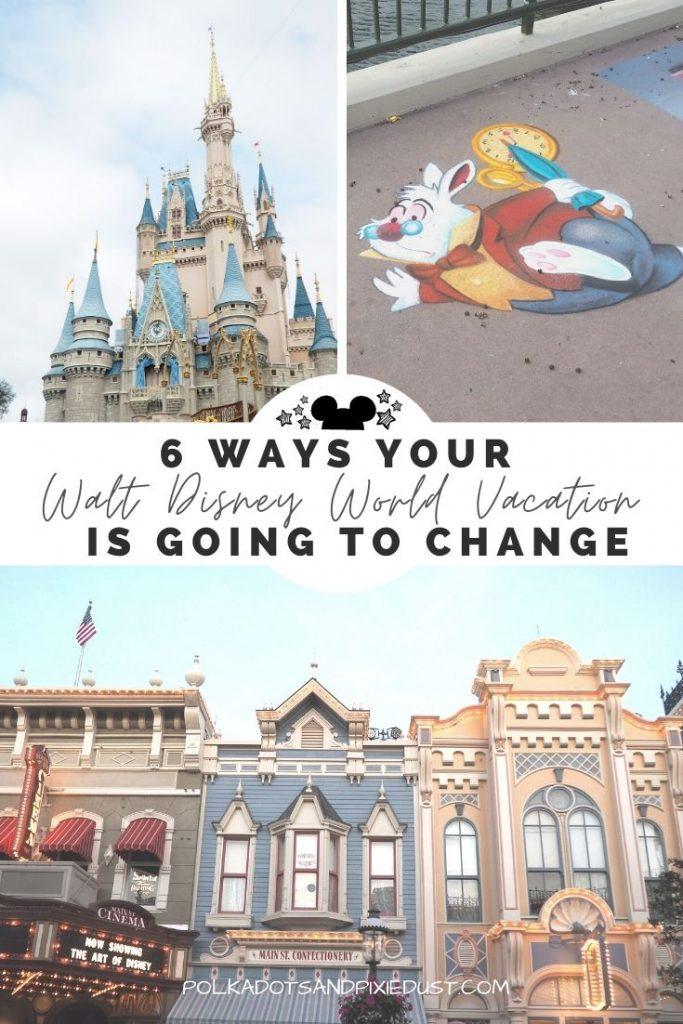 6 ways your Walt Disney World Vacation is Going to Change. These temporary changes at Walt Disney World will be part of the new normal as Disney Parks tackle safety issues across park properties. From temperature checks to cashless purchases. #disneychanges #disney2020 #disneyvcacation #disneytips #polkadotpixies