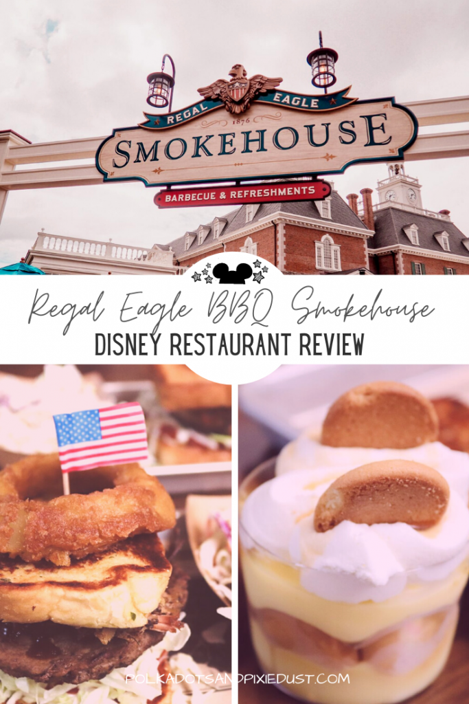Disney's Epcot Restaurant, the Regal Eagle BBQ Smokehouse is perfect for a quick lunch. With BBQ sauce choices, plant based options and brews this American Adventure Restaurant in Epcot is a surefire option on your next Disney Visit. Check out everything we had. #disneyrestaurants #disneyreviews #waltdisneyworld #epcotrestaurants