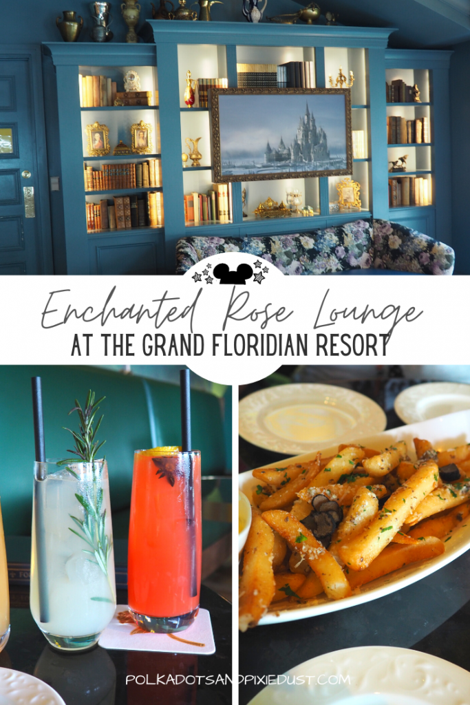 The Enchanted Rose Lounge at the Grand Floridian is absolutely gorgeous and themed to Beauty and Beast. As part of a larger Grand Floridian upgrade this newest lounge has small plates, and themed drinks. See everything we tried! #grandfloridian #disneyvacation #disneyforadults #disneylounge #polkadotpixies
