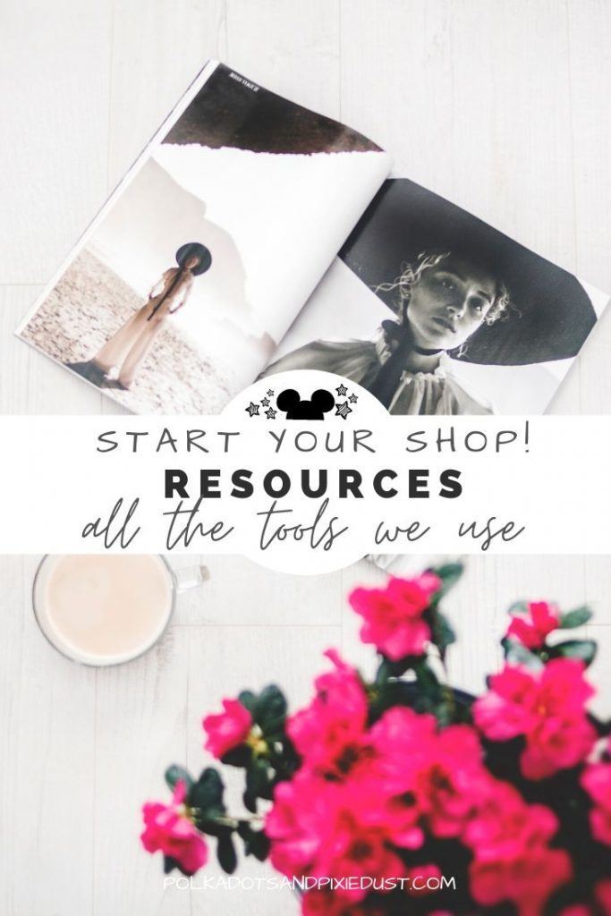 Everything you need to Start a Shop online. Online Business Tools that we use to make sales every day. Check out the list of shop resources. #startashop #shopowner #shopresources #etsyresources #shopifyresources