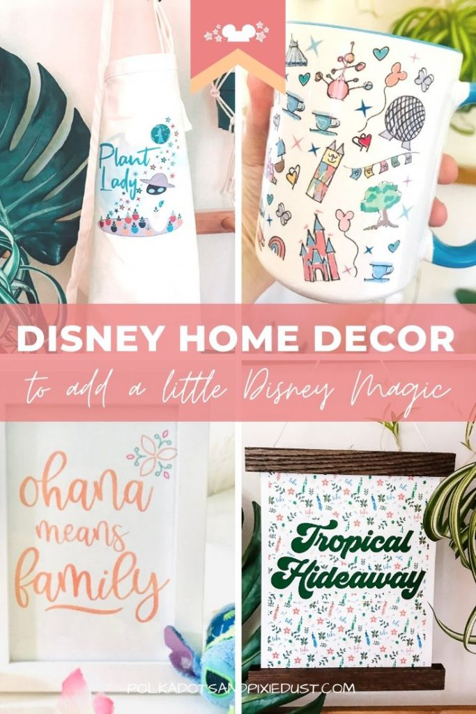 Disney Home Decor Disney Parks. Plant Lady Apron, Mousepads, downloadable art, Disney Mugs and Disney Prints. Everything you need for a Disney home. #disneyhome #disneydecor #disneymug #disneyoffice #disneykitchen #disneygifts