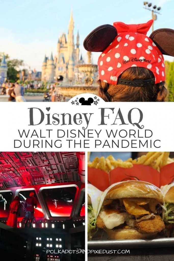 Disney During the Pandemic. With the arrival of coronavirus came not only TONS of new rules, but limited hours, experiences and planning changes. Construction delays that impact the 50th Anniversary of Walt Disney World in 2021 and MORE! Here are all the Disney COVID FAQ so you can be prepared for your next Disney Vacation. #polkadotpixies #disneycovid