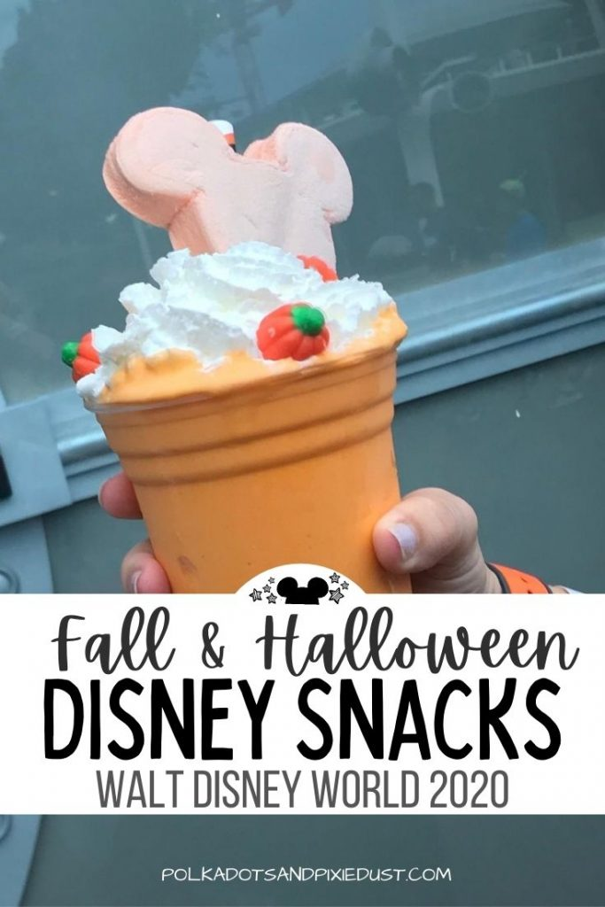 Disney Snacks for Fall arrive in the parks on September 15th 2020, check out the full lists of all the fall and halloween treats that await in the post! #disneysnacks #polkadotpixies #disney2020