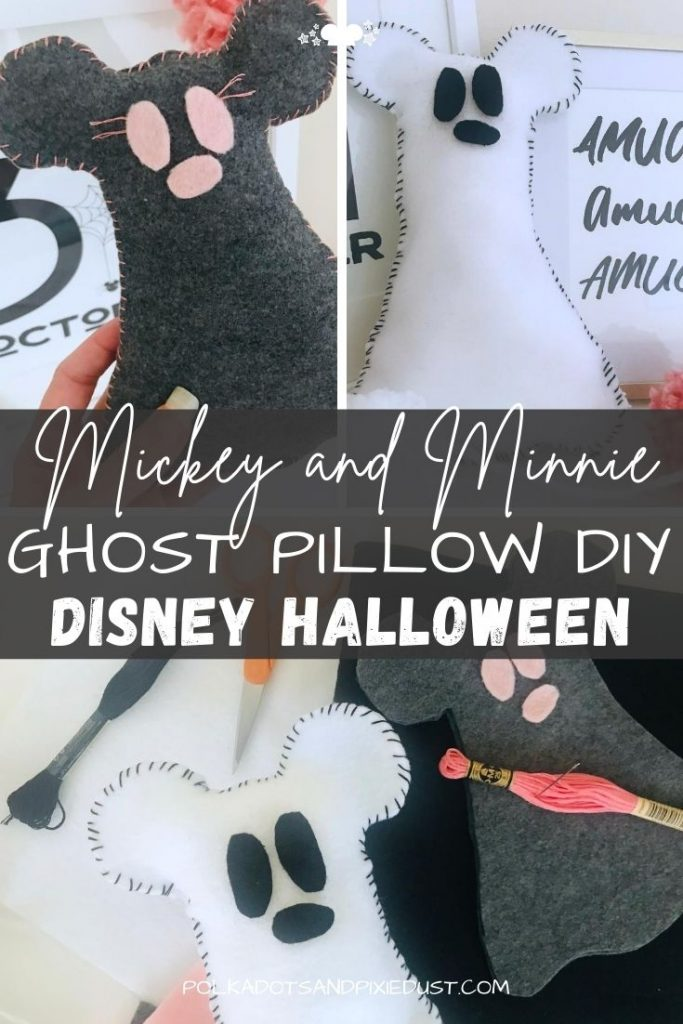 Mickey Ghost Pillow DIY is the perfect addition to your Disney Halloween Decor! A simple and EASY cute felt craft you can make tons of these little guys, or a giant one for your sofa! Here's how to make this quick and easy Disney Halloween Craft. #polkadotpixies #disneyDIY #disneyhalloween