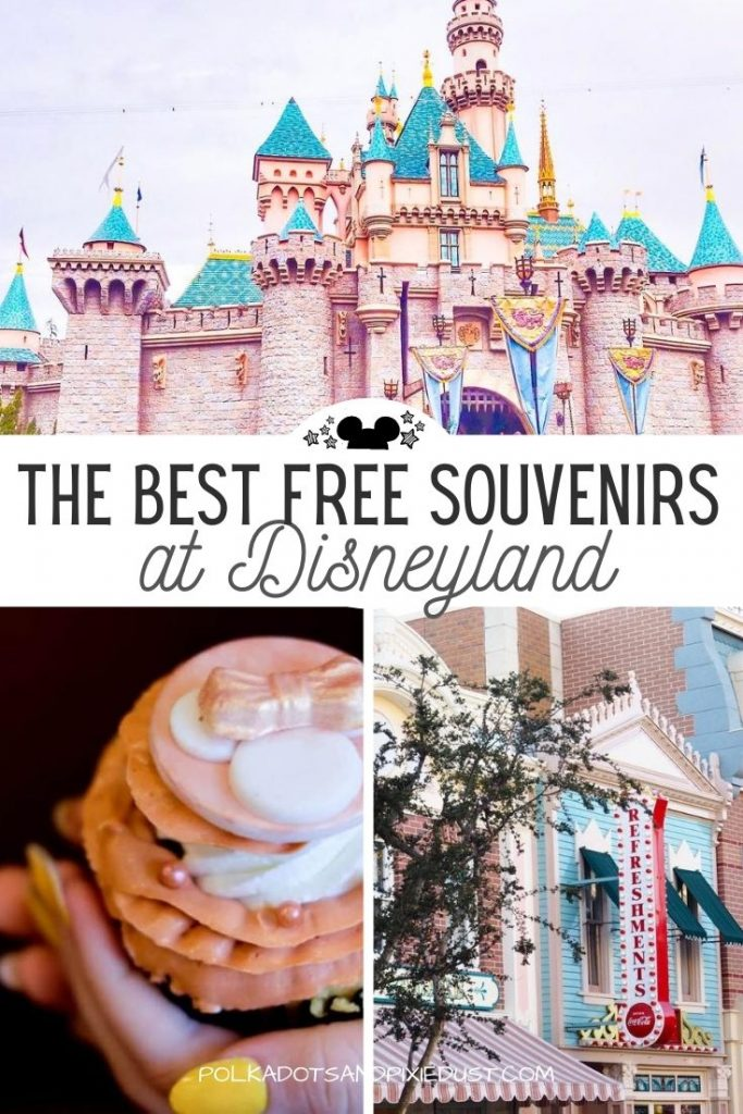 Disneyland Souvenirs are the best. And even better when they are free! Here are our favorite things to grab at Disneyland so you can save some money on your next visit! #disneyland #disneysouvenirs #disneyvacation #polkadotpixies