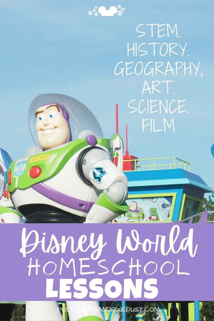 Disney World Homeschool Curriculum Ideas for every topic and age. For Kids K-12, this post has tons of information for most subjects, activity packets, and more! Perfect for homeschool families or fun Disney educational activities at home! #disneyhome #disneyhomeschool #disneycurriculum #disneyk12 #polkadotpixies