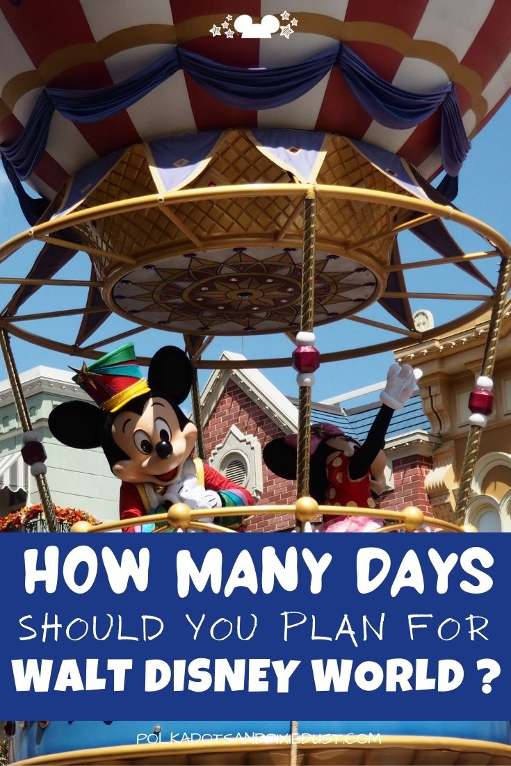 """Wondering how many days for Disney World you should plan? While we always argue for a longer vacation, we share what we consider the """"Minimum"""" stay here, so that you can really get the most bang for your buck and an experience that is worth the cost! #disneytips #disneyplanning #polkadotpixies"""