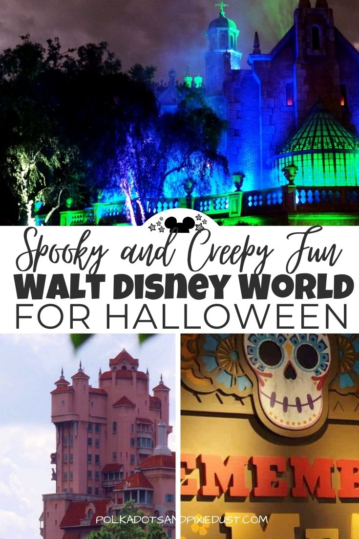 Spooky Fun at Disney Parks can be had anytime of year! Here are our favorite things to do in each park. #disneyparks #polkadotpixies #disneyhalloween