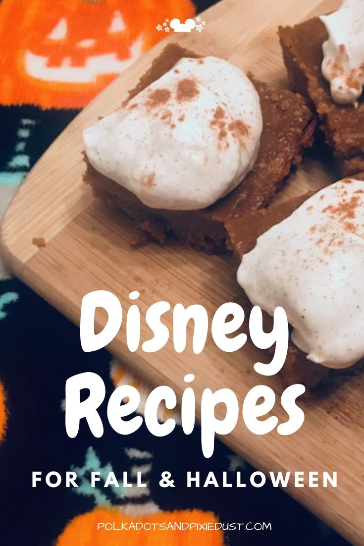 Here's our round up of Official Disney Parks Recipes for Fall and Halloween. With easy pumpkin bars, and more complex profiteroles, there are recipes here to bring the tastes of the park back home. #disneyrecipes #waltdisneyworld #disneyfall