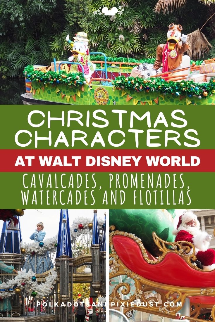 Disney Character Cavalcades at Walt Disney World happen at all four parks. From promenades at EPCOT to motorcades at Hollywood Studios. Here's a list of all the Holiday Cavalcades and everything you need to know. #disneychristmas #disneyvacation #polkadotpixies