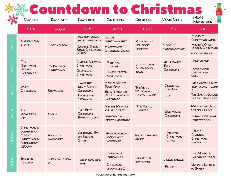 Christmas Calendar Countdown Christmas Movies