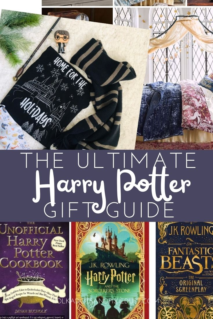 Harry Potter Gifts for every Harry Potter Fan. From Wizarding World shirts, to bedding to pajamas to collectibles to books. Here is all the Harry Potter Gifts you could hope for. #polkadotpixies #harrypotter