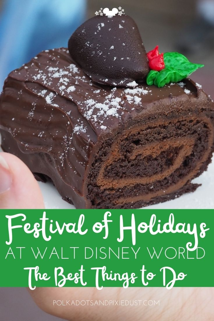 The Festival of Holidays List of Things to Do at EPCOT for Christmas! Seasonal Foods, new decorations, a new scavenger hunt game, and performances! Here's everything to do for the Festival at EPCOT Disney World. #polkadotpixies #festivalofholidays #disneyworld #polkadotpixies