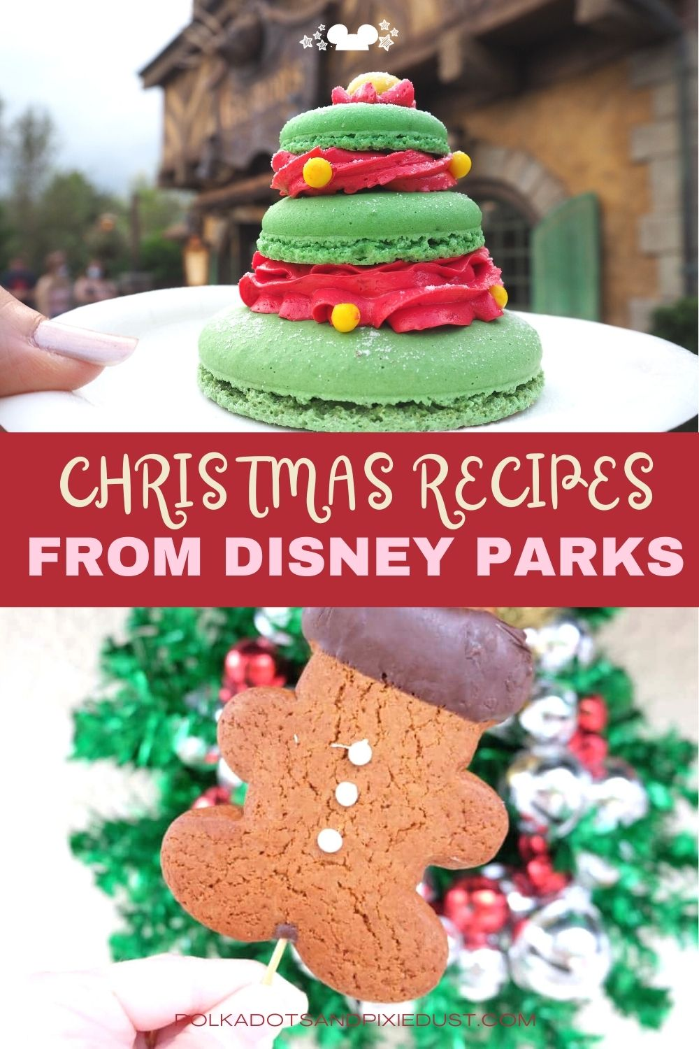 Disney Parks Christmas Recipes of the best snacks you can find in the parks  like cookies, Belle's Enchanted Christmas and Cocktails too! #polkadoptixies #disneyrecipes #christmascocktails