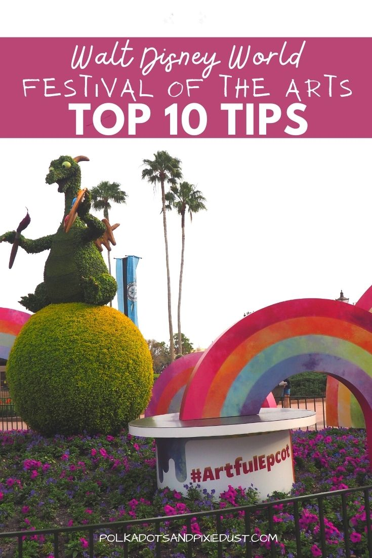 Festival of the Arts at EPCOT Top 10 Tips to help you make the most of your vacation at EPCOT this winter. Here are the 10 MUST DO things to do at Festival of the Arts! #polkadotpixies #disneytips