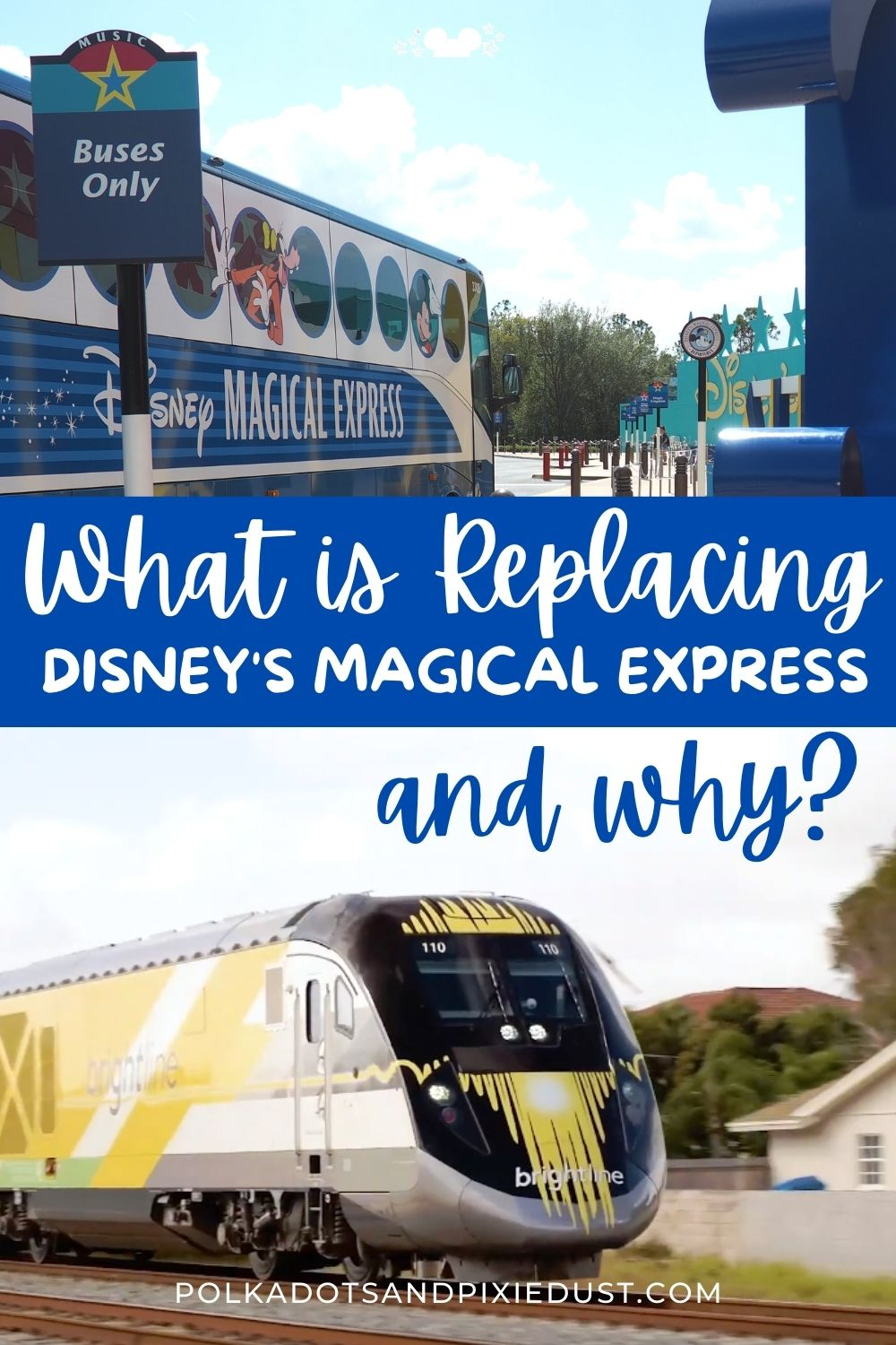 Disney's Magic Express is Retiring in 2021 leaving Disney guests other options to get to and from Orlando International Airport. Check out the details! #polkadotpixies #disneytrain