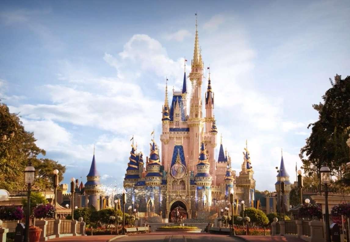 Cinderella Castle Walt Disney World 50th Anniversary decorations
